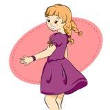 一件紫色礼服的逗人喜爱的女孩 库存照片
