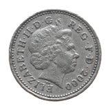 一1英镑硬币的女王/王后 库存照片