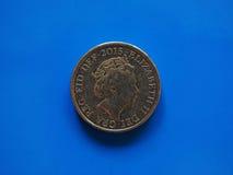 一1英镑硬币,英国在伦敦 免版税库存图片