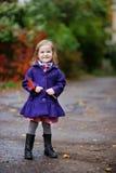 一件蓝色外套的小女孩秋天 图库摄影