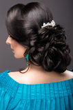 一件蓝色礼服的美丽的女孩有晚上构成和发型的 秀丽表面 发型后面视图 库存图片