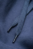 一件蓝色运动衫的有冠乌鸦鞋带 库存图片
