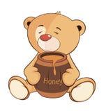 一头被充塞的玩具小熊和桶蜂蜜动画片 免版税库存照片