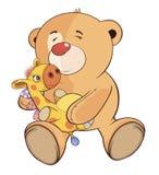 一头被充塞的玩具小熊和玩具长颈鹿动画片 库存照片