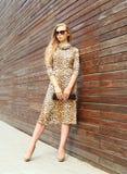 戴一件豹子礼服和太阳镜有提包传动器的时尚美丽的妇女在城市 库存图片