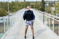 一件超短裙的妇女在桥梁的中部在铁路的 免版税库存照片