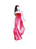 一件长的红色礼服的例证女性有在她的头发的花的 免版税库存照片