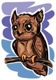 一头风格化小棕色猫头鹰 库存照片