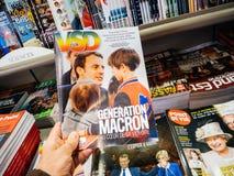 一代Macron VSD杂志法国 免版税库存照片