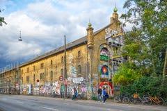 一Christiania房子在Copengagen绘了街道画 库存图片