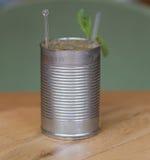一mojito的照片在一个罐头的没有标签 免版税库存照片