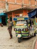 一tuk tuk的看法,在哥伦比亚 免版税库存照片