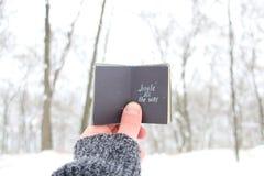 丁当一直 圣诞节歌曲激动人心的行情,拿着与题字的人一本书 库存照片
