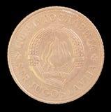 5丁那硬币头,在描述徽章南斯拉夫社会主义联邦共和国的1971年发布南斯拉夫 免版税库存照片