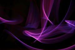 丁香紫色桃红色紫罗兰色卷曲的线-丝带由在黑背景的光绘了 由光的即兴的绘画 向量例证