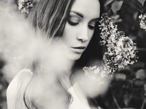 丁香花围拢的美丽的少妇  库存照片
