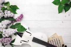 丁香花束与小提琴和音乐纸张的在一张白色木桌上 与空间的顶面wiev您的文本的 图库摄影