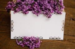 丁香花束与题字卡片的 免版税图库摄影