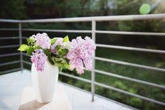丁香花束在一个白色花瓶的在太阳的光芒的一张木桌上 r 库存照片