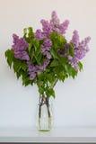 丁香花束在一个玻璃花瓶的反对白色背景 图库摄影