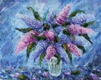 丁香花束在花瓶,静物画,油画的 免版税库存图片