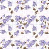 丁香-花和叶子 无缝的模式 与花卉主题的抽象墙纸 墙纸 丁香-花和叶子 Seamle 库存图片