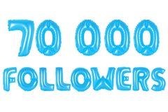 七万个追随者,蓝色颜色 库存照片