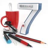`七与办公室材料的` 3d数字 库存图片