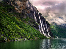 七个姐妹瀑布挪威 免版税库存图片