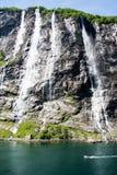 七个姐妹瀑布,挪威 免版税图库摄影
