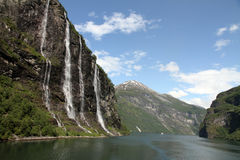 七个姐妹瀑布, Geiranger海湾,挪威 免版税库存图片