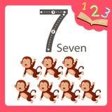 七个数字动物的以图例解释者 库存例证