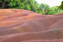 七个色的地球沙丘在毛里求斯 库存照片
