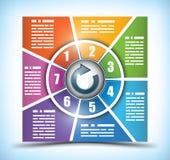 七个阶段颜色更改的工作流图表 免版税图库摄影