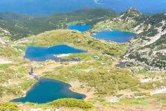 七个Rila湖,保加利亚空中veiw  库存图片