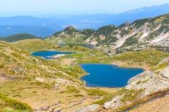 七个Rila湖,保加利亚空中veiw  库存照片