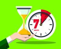 7七分钟计时传染媒介平的设计时间标志 向量例证