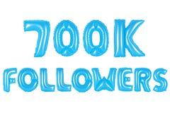 七十万个追随者,蓝色颜色 库存照片