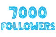 七千个追随者,蓝色颜色 库存图片