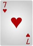 七卡片心脏啤牌 免版税库存照片