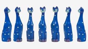 七只可笑高蓝色猫 免版税库存图片