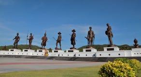 七国王Statues Rajabhakti Park华欣 免版税库存照片