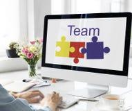 七巧板对组织工作支持图表概念 免版税库存照片