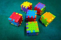 七巧板立方体玩具 免版税库存图片