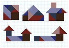 七巧板难题房子 库存图片