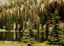 七座恶魔山的黑湖 库存照片