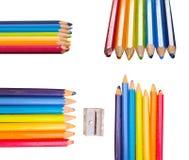 七支五颜六色的画图铅笔 免版税库存照片