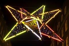 七盏拨号圣诞灯在伦敦 库存图片