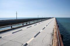 七英里桥梁废墟在佛罗里达群岛 库存图片