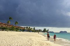 七英里海滩,开曼群岛,加勒比 库存图片